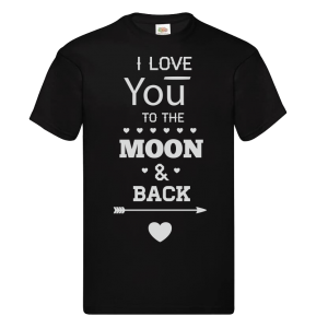 Bedrukte T-shirt 'Love you to the moon and back'